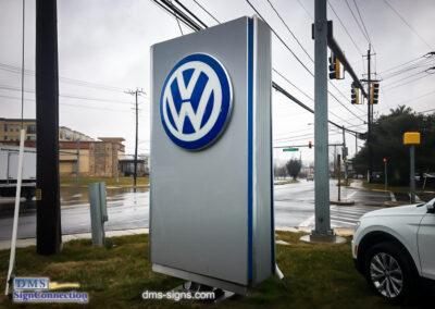 King Volkswagen Pylon Sign Emergency Service Call in Gaithersburg VA