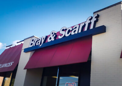 Bray & Scarff, Alexandria VA Channel Letters, Awning and Window Graphics Before Pics