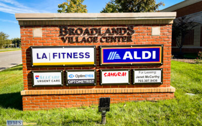 Brick Monument Sign as Tenant Directory for Shopping Mall in Loudoun County, Virginia