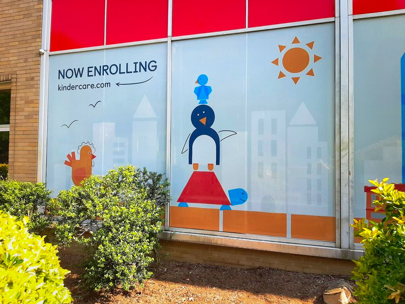 Perforated Privacy Film With Printed Graphics Installed In Georgetown DC For Daycare Facility