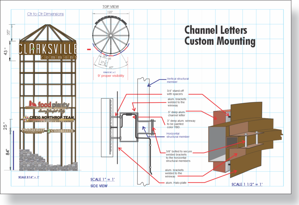 Channel Letter construction - Custom Curved Raceway