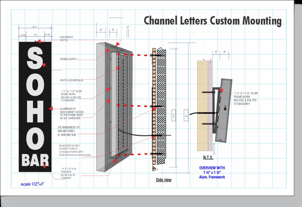 Channel Letter construction - Custom Bracket