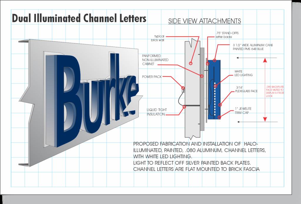 Channel Letter construction - Dual Illuminated Burke & Herbert