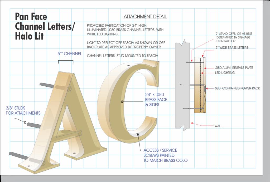 Channel Letter construction - Pan Face Halo Lit