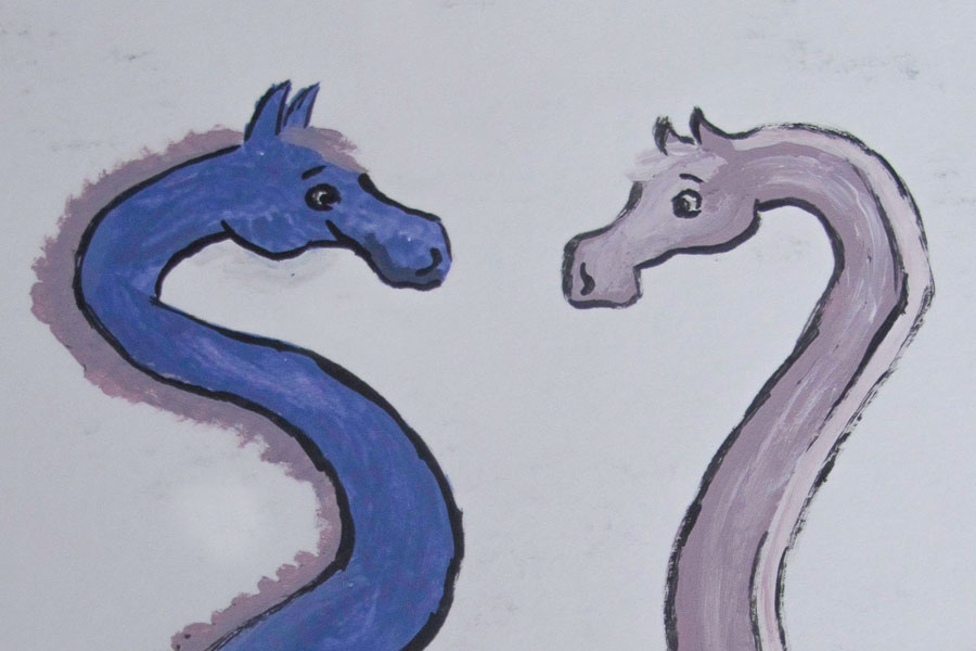 two hand drawn horsey giraffey creatures smiling at each other