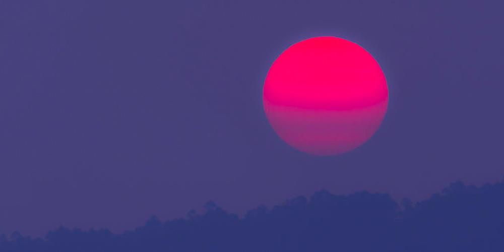 a vivid red moon