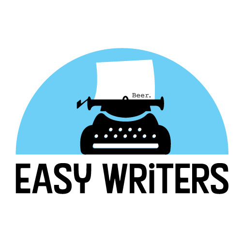 """logo design for Easy Writers - a typewriter with """"beer"""" on the paper"""