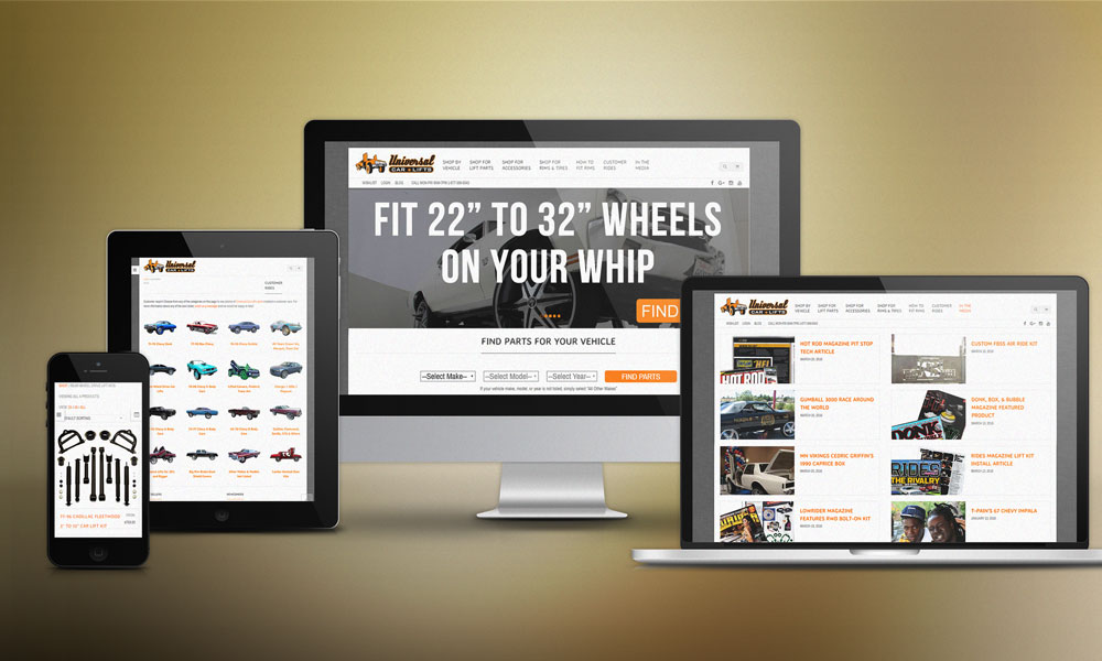 responsive screens - phone, tablet, laptop and desktop view of car lift kits and parts website
