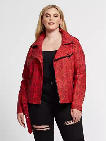 woman in snake print moto jacket