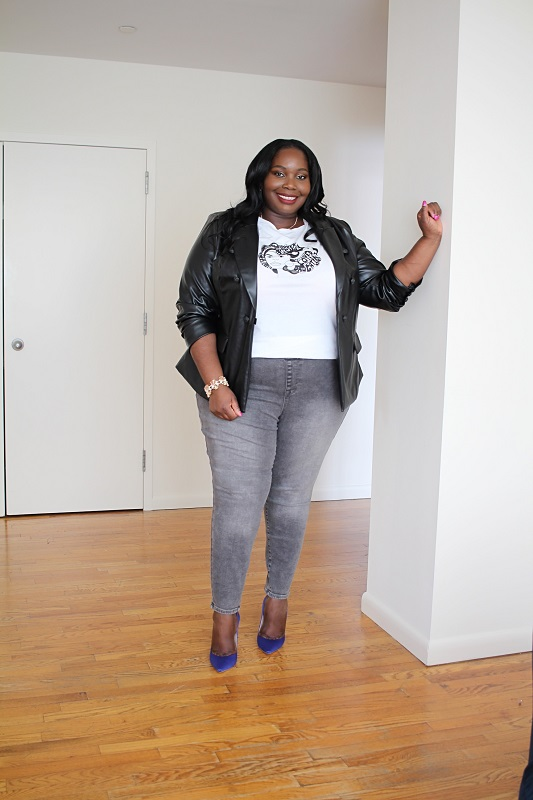 plus size leather blazer and jeggings from Lane Bryant