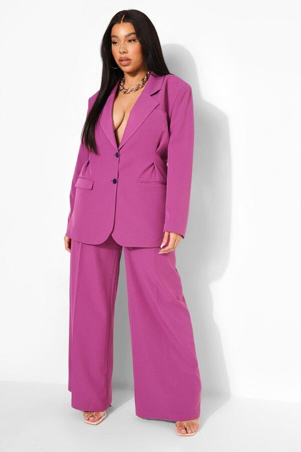 plus size model tabria majors and boohoo collection purple pantsuit