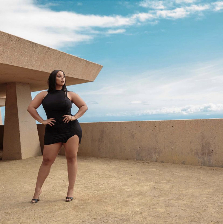 plus size model tabria majors and boohoo black mini dress