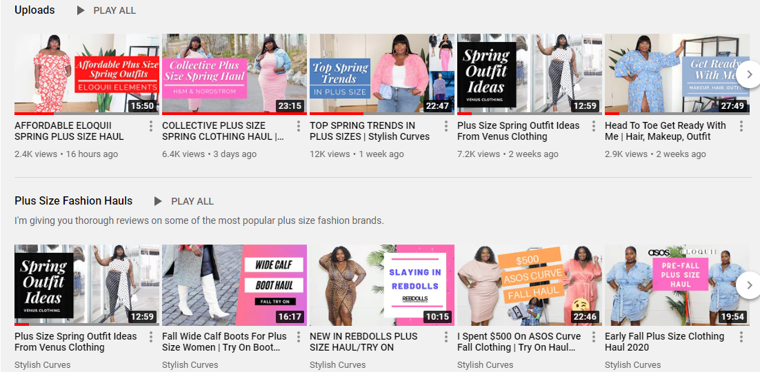 stylish curves plus size youtube channel