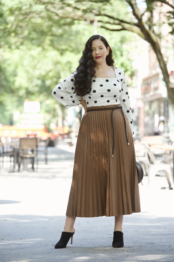 pleated brown faux leather skirt from the curvy girl collection qvc