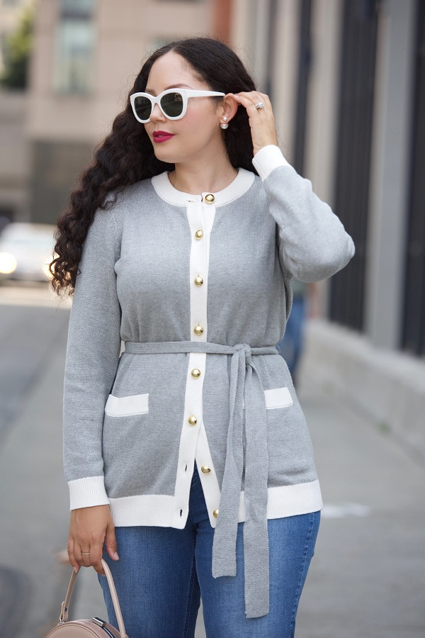 belted cardigan with golden buttons in gray from the Girl with curves qvc line