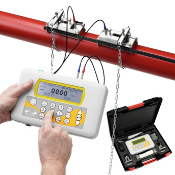 Portable clamp on flow meter