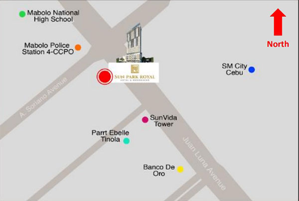 vicinity map of sun park royal hotel and residences in SM City Cebu