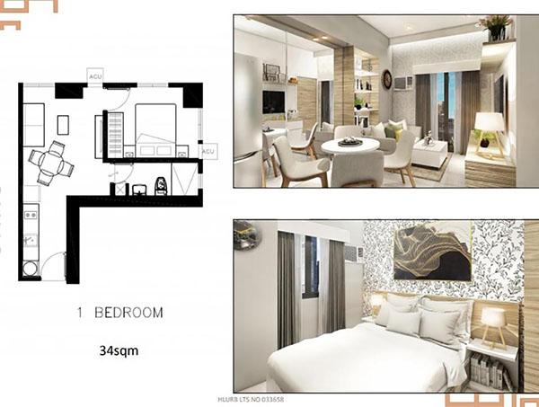 1 bedroom corner unit floor plan