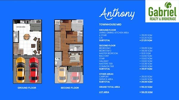 townhouse middle unit floor plan 1