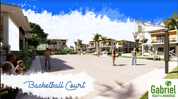 basketball court with some people playing