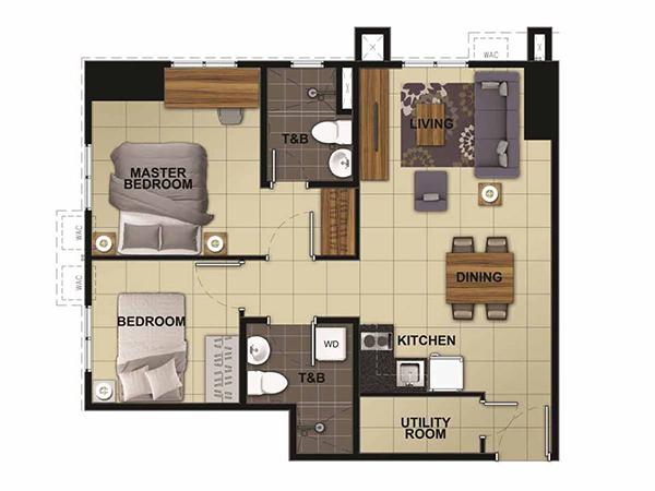 2-bedroom floor plan with 2 toilet and bath