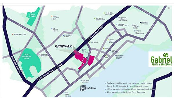the location of avida towers gatewalk central in mandaue city, cebu