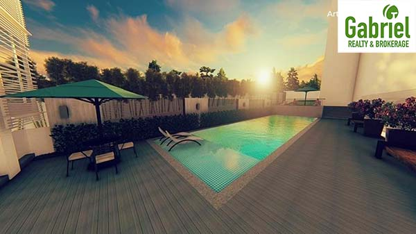 swimming pool at the roof deck of the condominium
