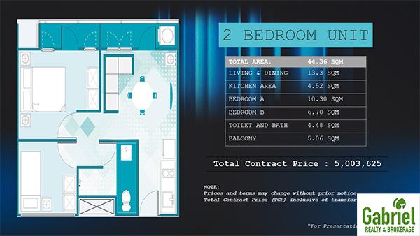 2 bedroom residential condominium floor plan