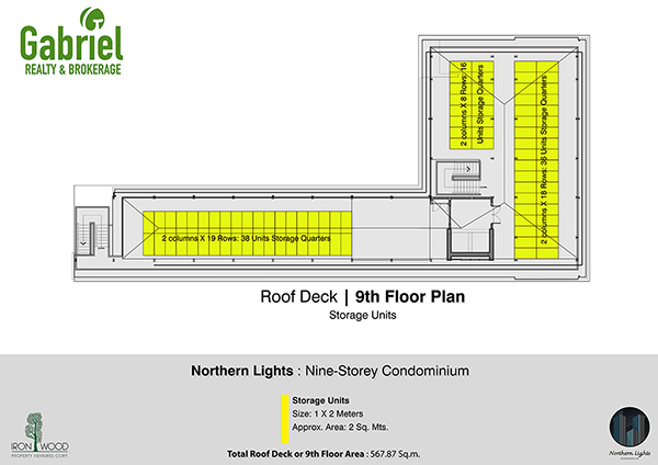 building plan on the roof deck at the 9th floor