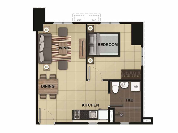 1 bedroom residential condominium floor plan