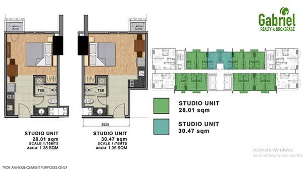 residential studio unit floor plan
