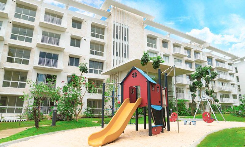 children's playground and lawn