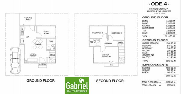 ode model floor plan, single detached house for sale in elizabeth homes