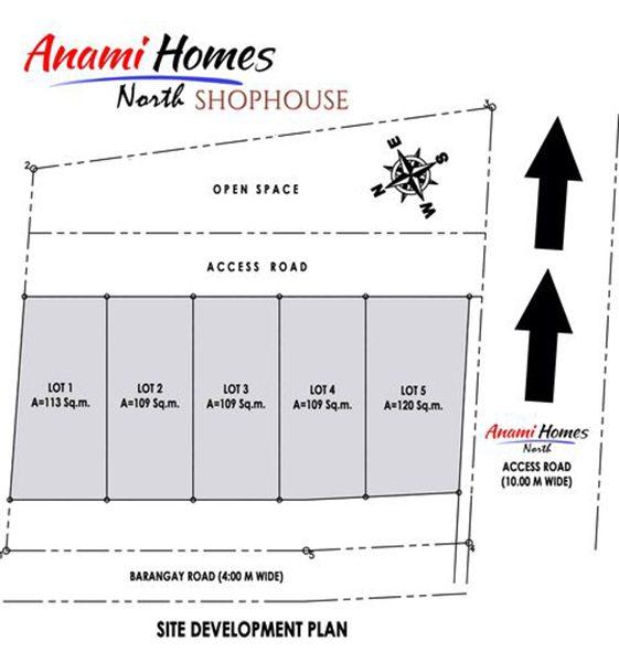 site development plan of anami homes north shophouse