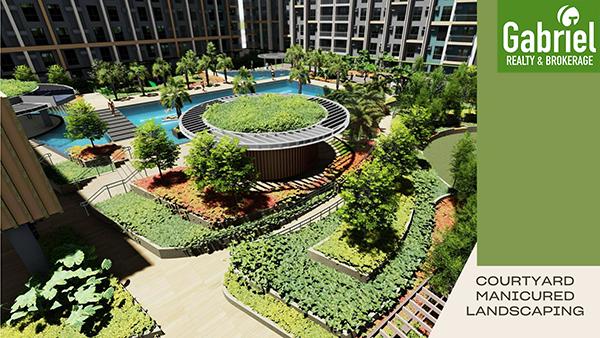 courtyard manicured landscpaing in mandtra residences cebu