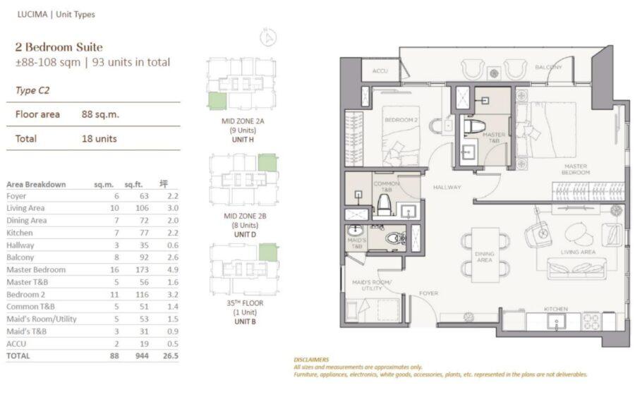 2 bedroom floor plan lucima residences