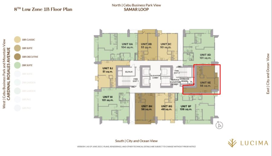 1 bedroom building floor plan, lucima condominium