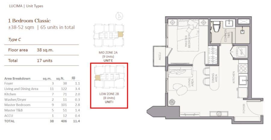 1 bedroom floor plan lucima condominium