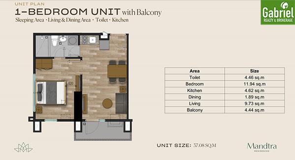 1 bedroom with balcony floor plan
