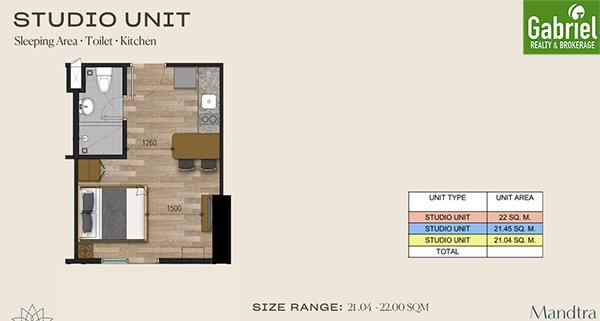 studio floor plan, mandtra residences