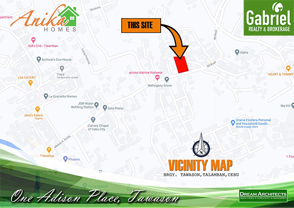 vicinity map of one adison place by anika homes tawason
