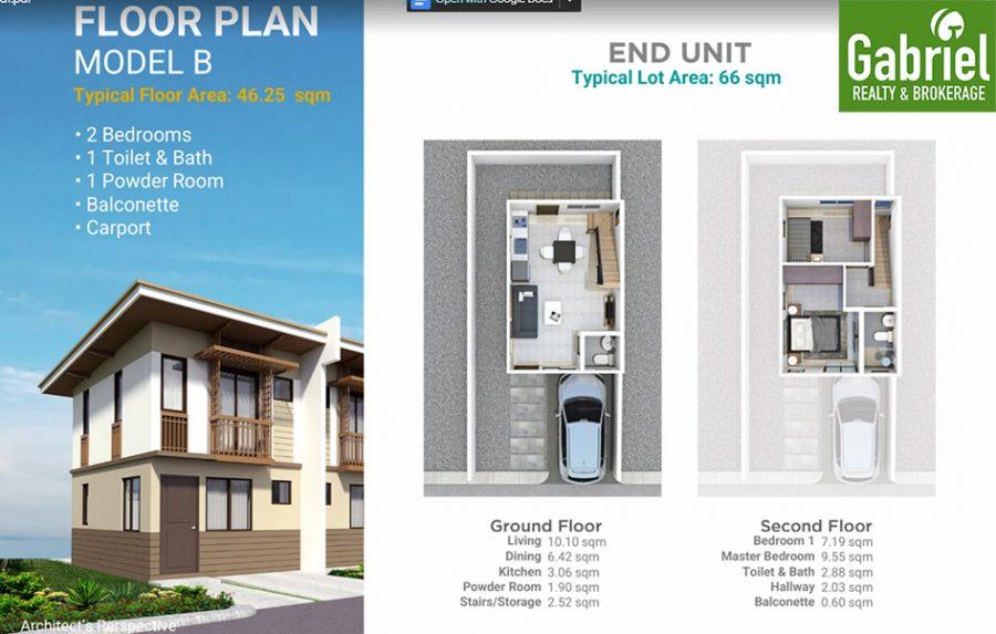 townhouse floor plan model b