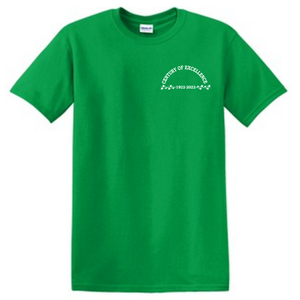 """Photograph of green t-shirt displaying the text """"Century of Excellence, 1922-2022"""" on the left chest area"""
