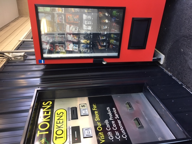Car Care Vending Accepts Cash, Tokens and credit cards.