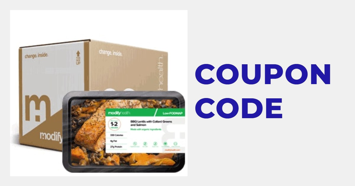 """Picture of a meal and delivery from ModifyHealth with the words """"coupon code"""""""
