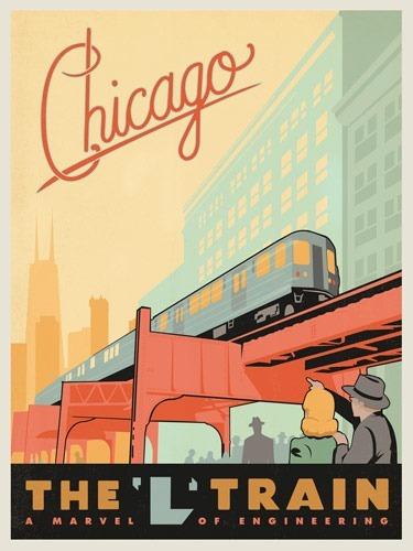 Chicago Loop Train Vintage Poster