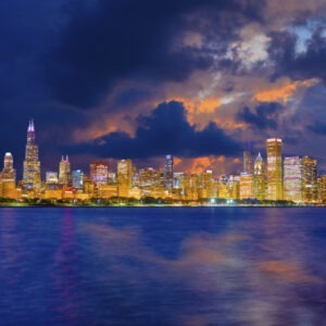 Chicago skyline and Lake Michigan after a clearing storm, Illinois