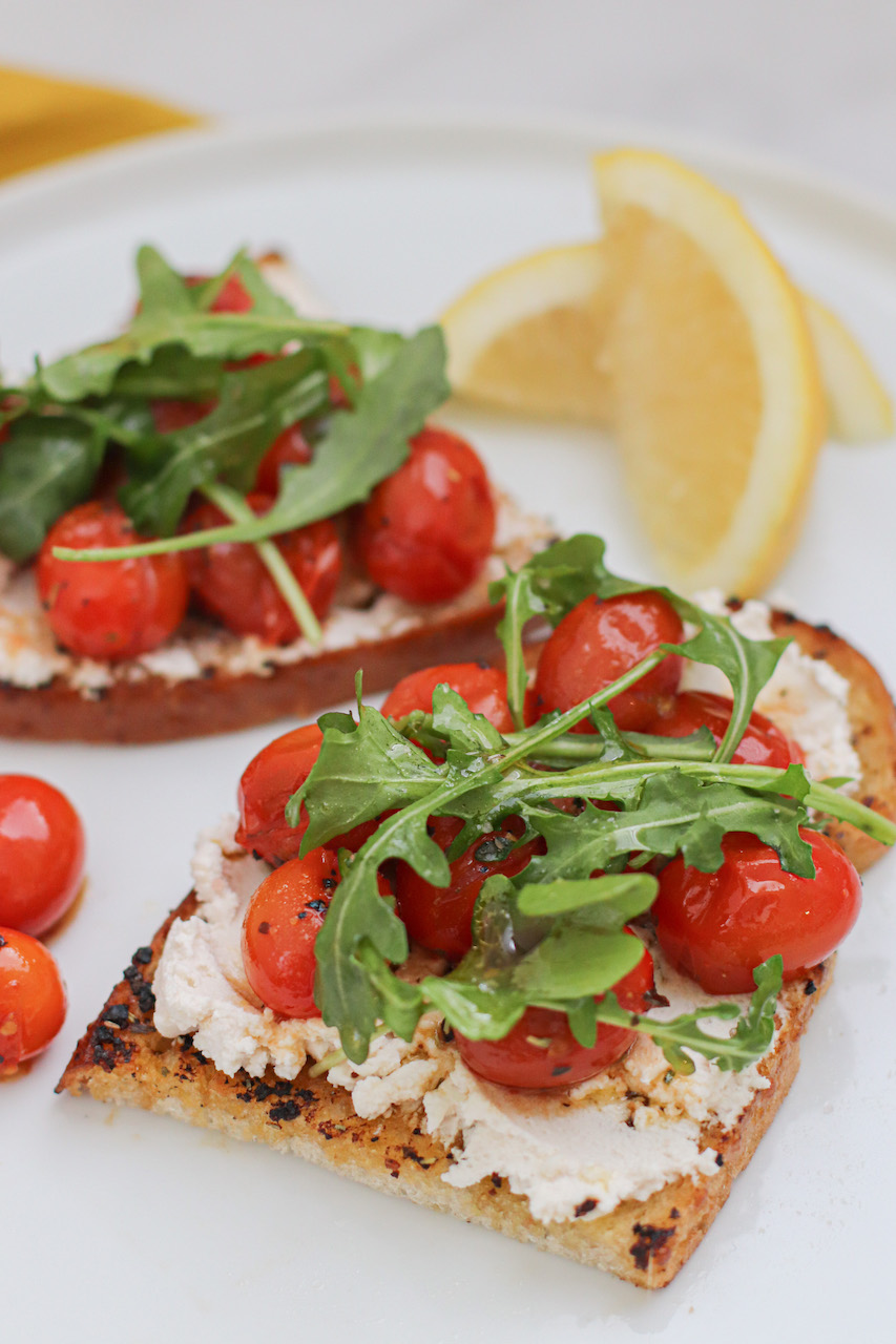 Vegan Appetizer Grilled Toast with Soften Tomato & Vegan Ricotta
