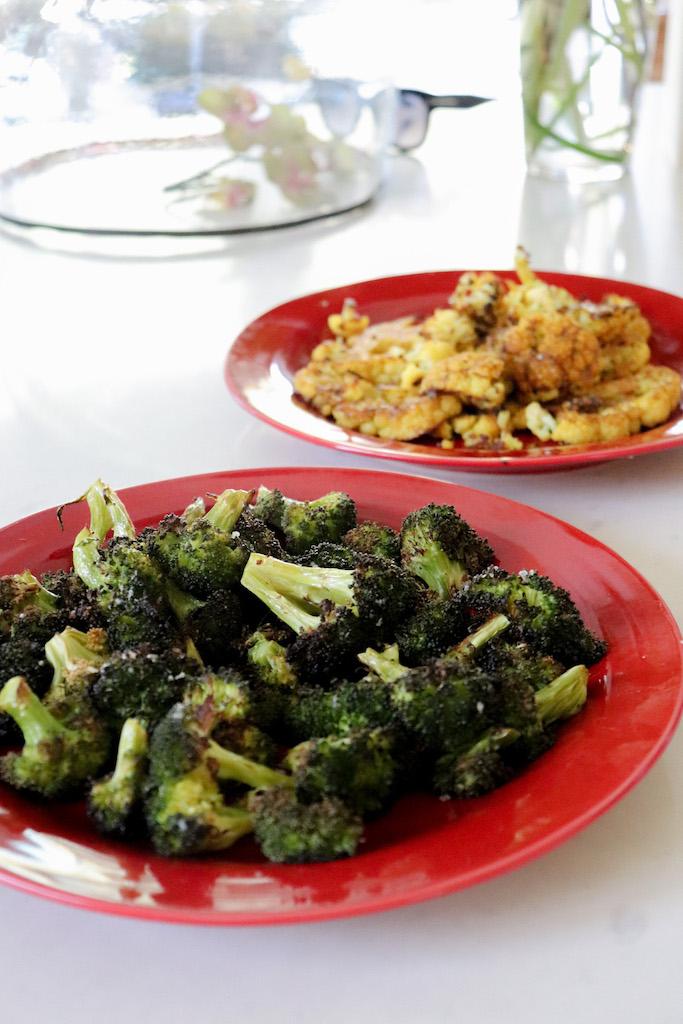 vegan side dish roasted broccoli and cauliflower