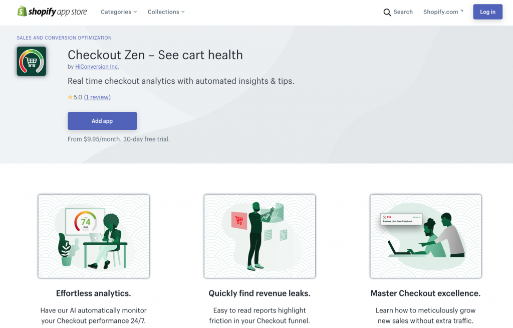 Screenshot of the Checkout Zen Shopify app listing page